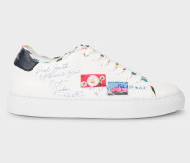 White Leather 'Envelope' Print 'Basso' Trainers