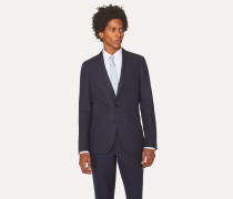 Tailored-Fit Dark Navy Unlined Linen Blazer
