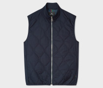 Dark Navy Quilted Zip-Fastening Gilet