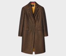 Gold Polka Dot Jacquard Cotton-Blend Epsom Coat