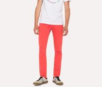 Slim-Fit Coral Garment-Dye Jeans