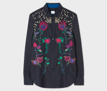 Navy 'Fantasy Floral' Embroidered Cotton Shirt