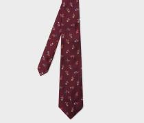 Burgundy Flower Embroidery Silk Tie