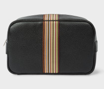 Black Leather Signature Stripe Wash Bag