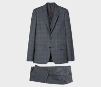 The Soho - Tailored-Fit Charcoal And Blue Windowpane Check Three-Piece Suit