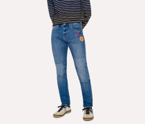 Slim-Standard 12.5oz 'Rigid Western Twill' Jeans With Patches