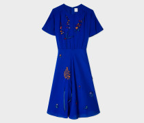Cobalt Blue Floral Embroidered Silk-Blend Dress