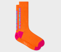 Orange 'Summer' Motif Ribbed Socks