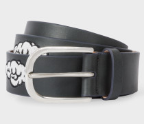 Black Embroidered Cloud Pattern Leather Belt