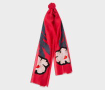 Red 'Floral Stem' Silk-Blend Scarf
