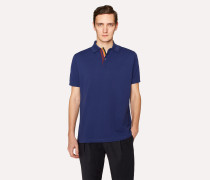 Slim-Fit Blue Cotton-Piqué Polo Shirt With 'Artist Stripe' Placket