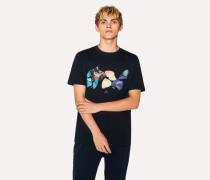 Navy 'Butterflies' Print Organic-Cotton T-Shirt