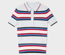 Light Blue Stripe Knitted Polo Top