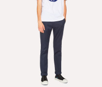 Slim-Fit Navy Cotton-Stretch Trousers