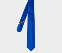 Cobalt Blue Narrow Silk Tie With 'Artist Stripe' Detail