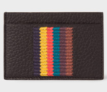 Black Grained Leather Card Holder With 'Bright Stripe' Embroidery