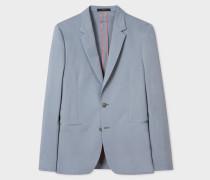 Tailored-Fit Light Blue Stretch-Cotton Twill Blazer