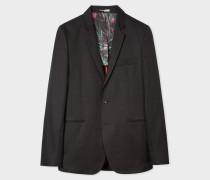 Slim-Fit Black Cotton-Linen Buggy Lined Blazer