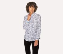 White Cotton 'Karami Line Drawing' Print Shirt