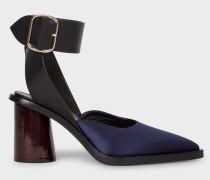 Dark Navy Satin & Leather 'Gaia' Sandals