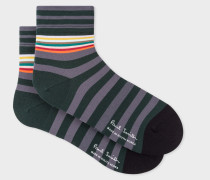 Grey And Green Block-Stripe Cycling Socks