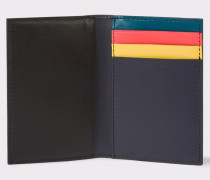 Navy Calf Leather Colour Band Interior Credit Card Wallet