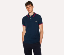 Slim-Fit Navy Zebra Polo Shirt With Red Tipping