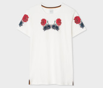 White Floral Print Cotton T-Shirt