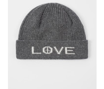 Grey 'Peace And Love' Wool Beanie Hat
