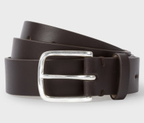 Chocolate Brown Leather Belt With No.9 Lining