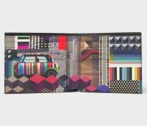 Black 'Geometric Mini' Interior Saffiano Leather Billfold Wallet