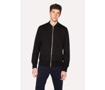 Black Organic Loopback-Cotton Bomber Jacket