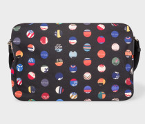 'Cycle Dot' Print Canvas Messenger Bag