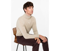 Oatmeal Cashmere Roll Neck Sweater