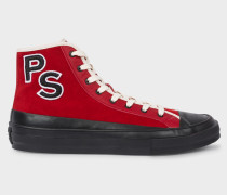 Red Suede 'Kit' High-Top Trainers With 'PS' Embroidery