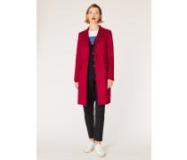 Dark Red Wool-Cashmere Epsom Coat