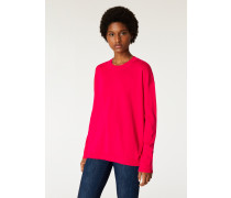 Red Wool Sweater With Multi-Coloured Piping