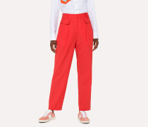 Red Wool Pleated Trousers