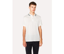 Slim-Fit White Cotton-Piqué Polo Shirt With Stripe Tipping
