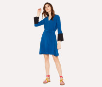 Petrol Blue V-Neck Dress With Contrasting Cuffs