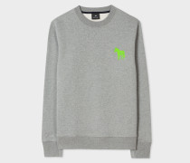 Grey Marl Organic-Cotton Embroidered Zebra Sweatshirt