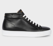 Black Leather 'Ace' High-Top Trainers