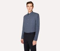 Slim-Fit Navy 'Star' Print Cotton Shirt
