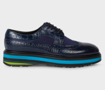 Dark Navy Mock-Croc Leather 'Grand' Brogues With Striped Soles