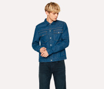 Indigo Rinse Pleat-Front Denim Jacket