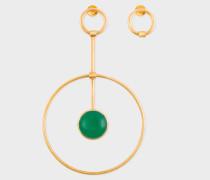 Rachel Entwistle + - Gold 'Pendulum Loop' Earrings With Green Onyx Stone
