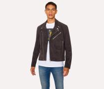 Slate Grey Suede Leather Asymmetric-Zip Biker Jacket