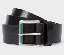 Black Leather Belt With Signature Stripe Roller