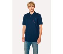 Navy Cotton-Piqué Embroidered 'Doodle' Polo Shirt