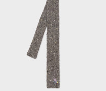 Grey Flecked Knitted Wool And Cashmere Tie